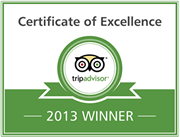 Trip Advisor Certificate of Excellence - 2013